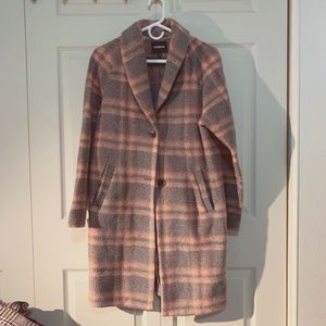 NWOT EXPRESS PLAID WOOL TRENCH COAT